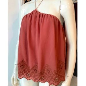 Embroidered tie up halter blouse